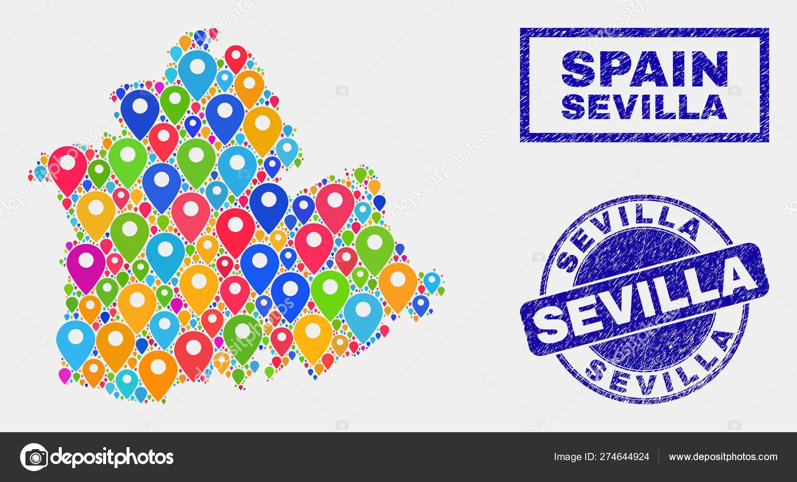 Provincia De Sevilla Mapa.Mapa Pines Mosaico De La Provincia De Sevilla Mapa Y Sellos