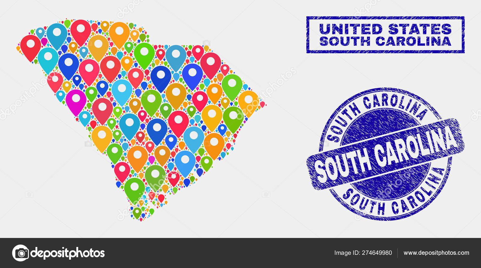 Karte Pins Collage von South Carolina State Map und Grunge ...