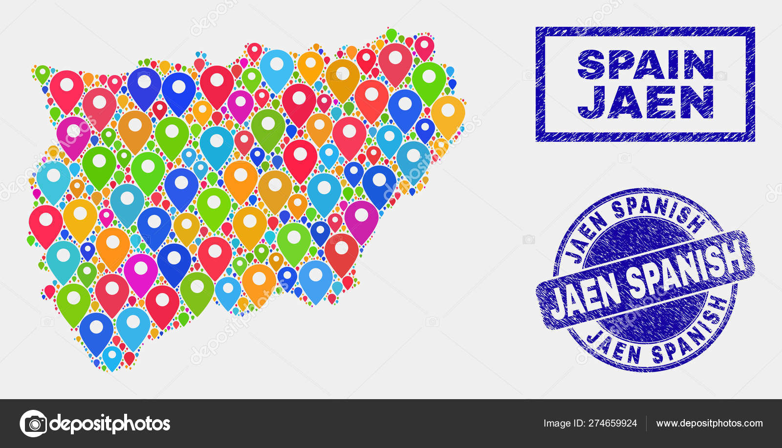 Map Of Spain Jaen.Map Markers Mosaic Of Jaen Spanish Province Map And Textured Seals