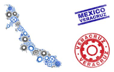 Gear Collage Vector Veracruz State Map and Grunge Seals