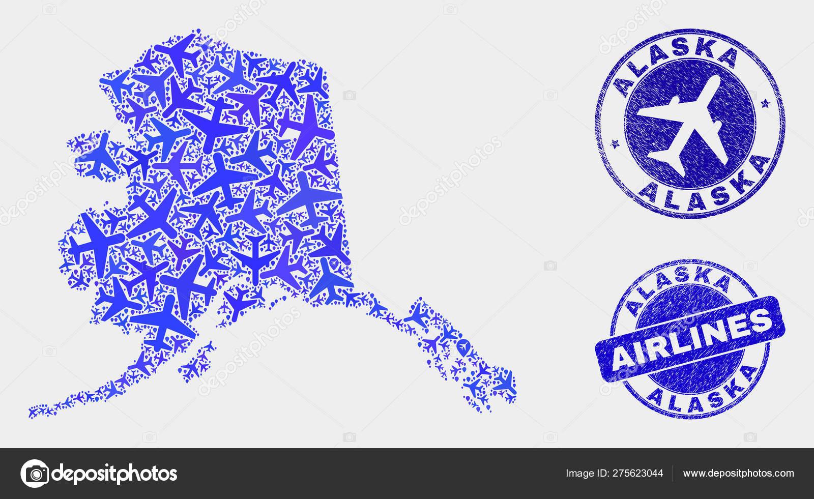 Aircraft Mosaic Vector Alaska Map and Grunge Stamps — Stock ...