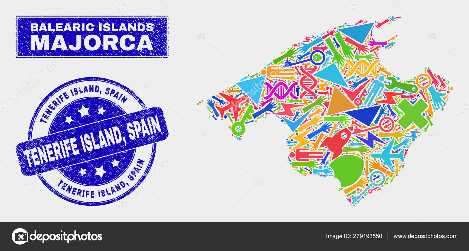 Map Of Spain Tenerife.Collage Technology Majorca Map And Distress Tenerife Island Spain