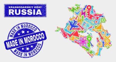 Mosaic Industrial Krasnodarskiy Kray Map and Grunge Made in Morocco Stamp
