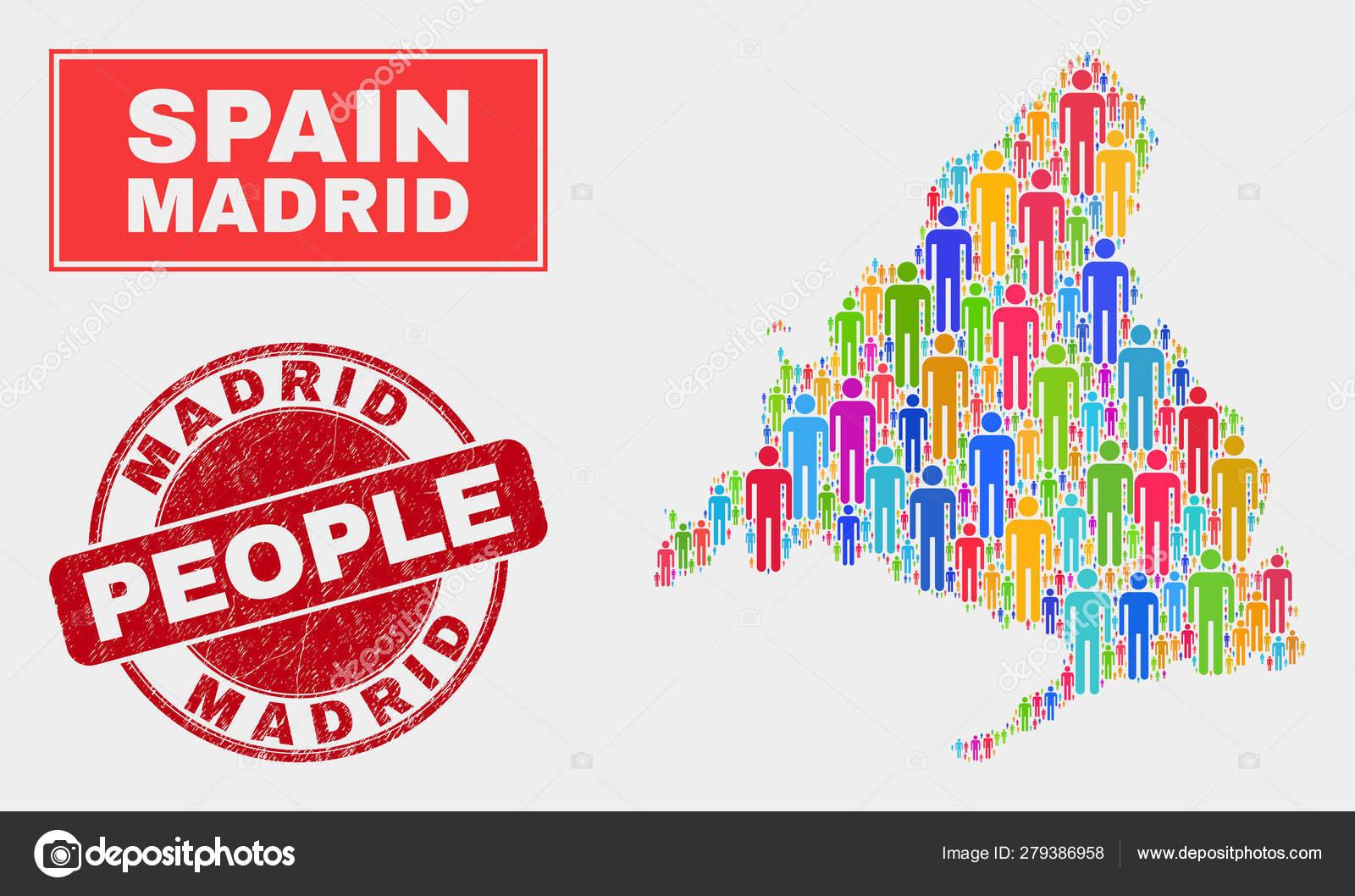 Mapa De Madrid Provincia.Madrid Provincia Mapa Poblacion Y Sello Grunge Vector De