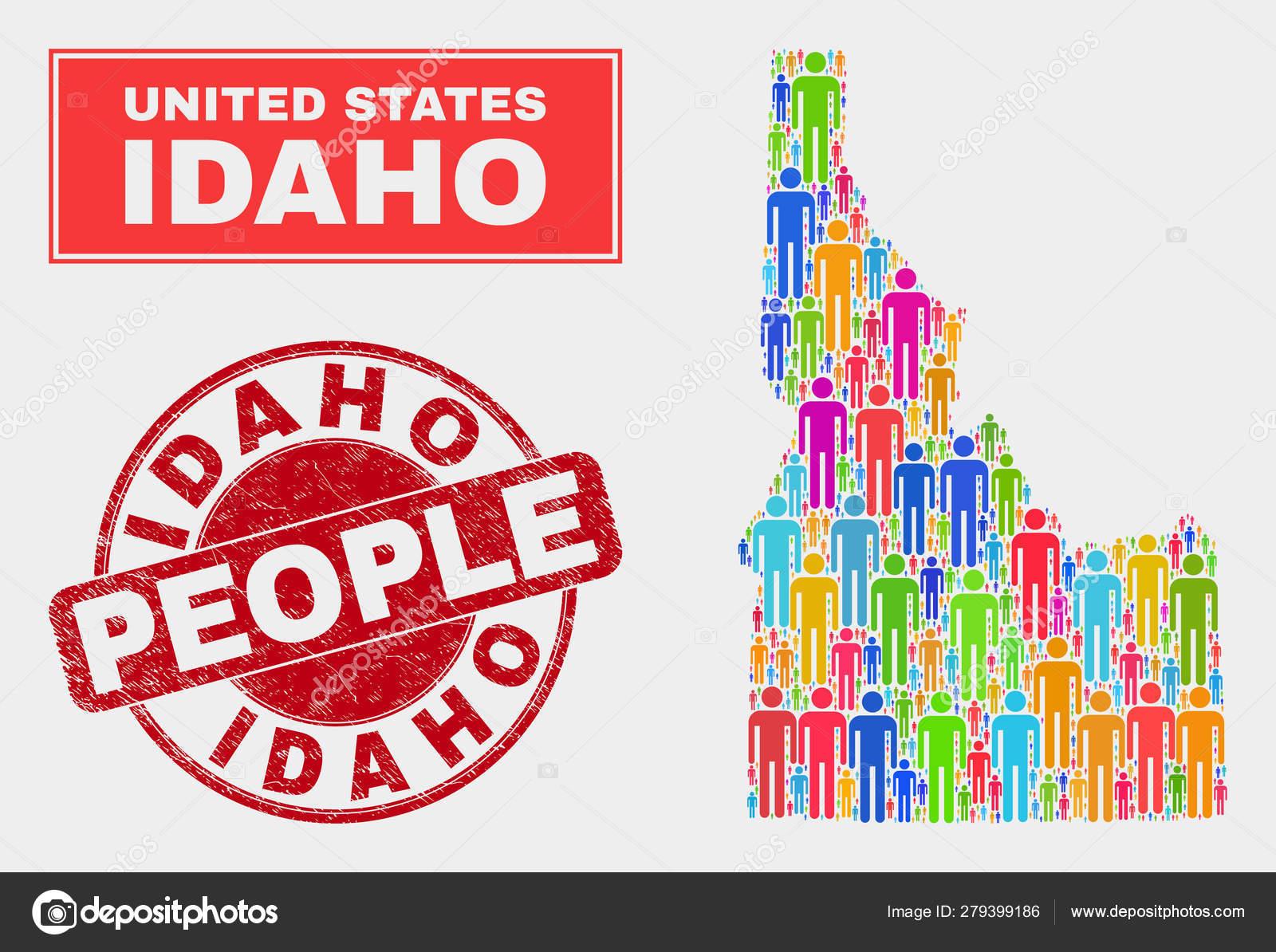 Idaho State Map Bevölkerung Menschen und korrodiertes Siegel ...