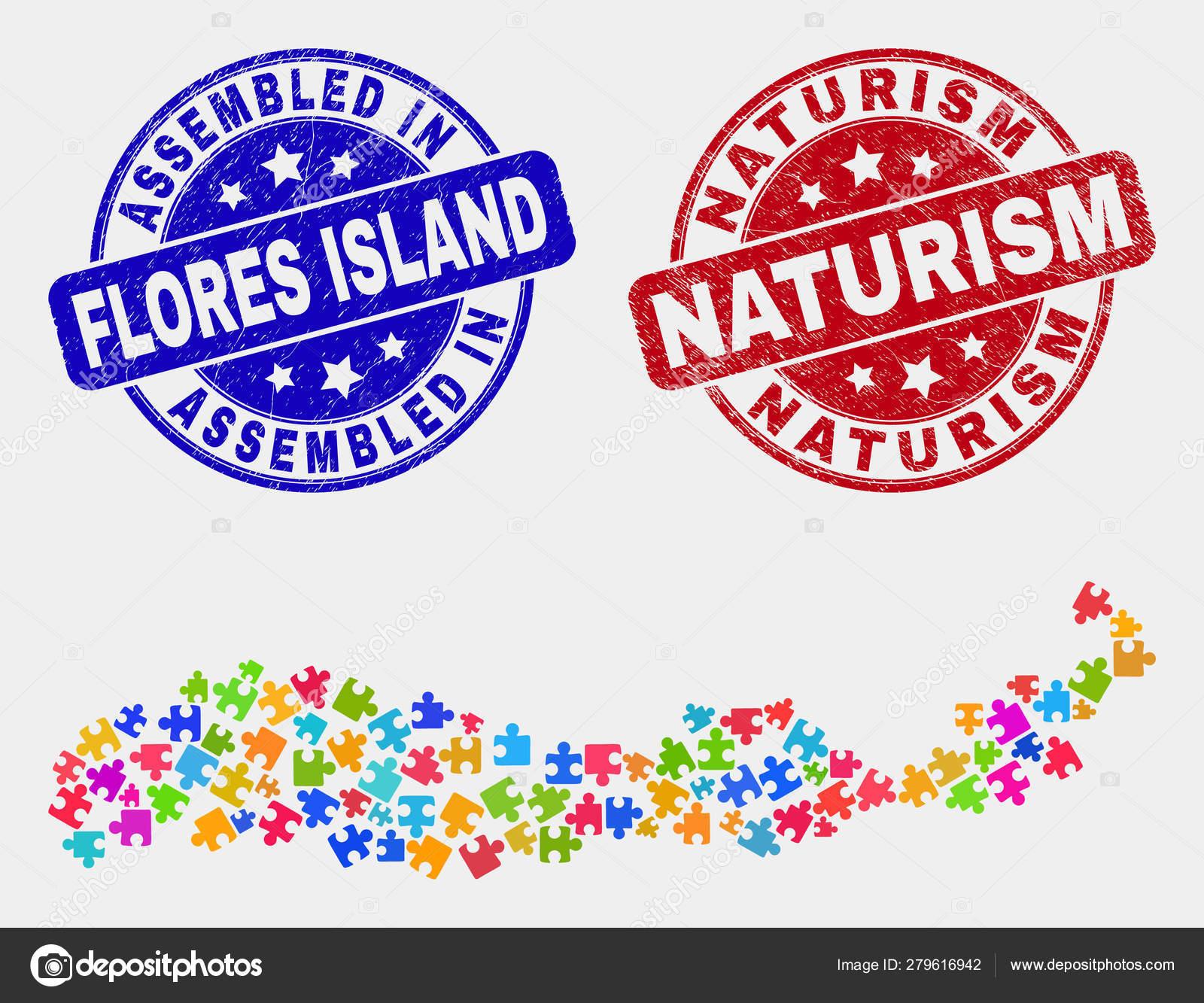 Módulo Flores Isla De Indonesia Mapa Y Distress Ensamblado Y