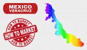 Színes mozaik Veracruz állam Térkép és grunge hogyan piaci bélyeg Seal