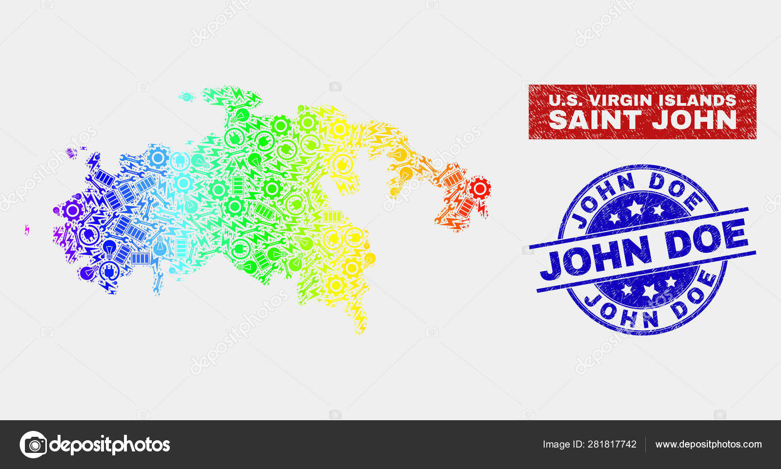 Spectral Assembly Saint John Island Map and Scratched John ...