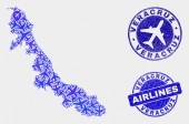 Aero kollázs Vector Veracruz állam Térkép és grunge Seals
