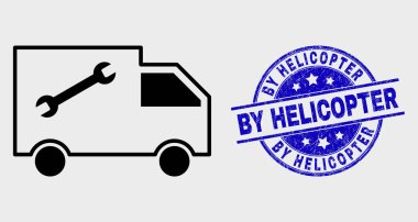 Vector Linear Service Van Icon and Distress By Helicopter Stamp Seal