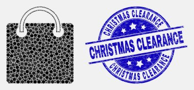 Dot shopping bag mosaic pictogram and Christmas Clearance stamp. Blue vector rounded distress seal stamp with Christmas Clearance caption. Vector combination in flat style. icon