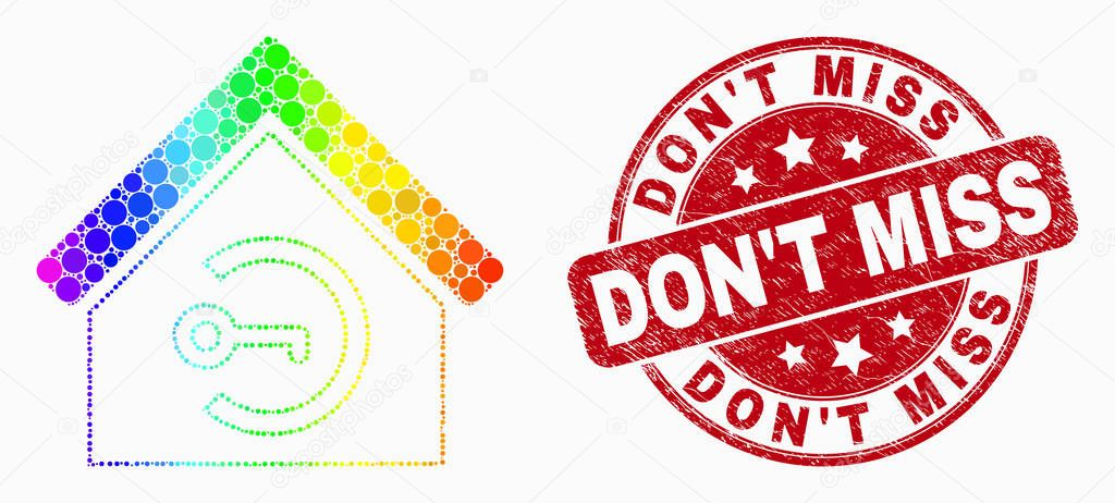 Vector Rainbow Colored Dotted Home Keyhole Icon and Scratched Don'T Miss Watermark