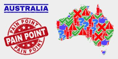 Collage of Australia Map Symbol Mosaic and Distress Pain Point Stamp