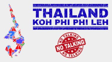 Collage of Koh Phi Leh Map Symbol Mosaic and Distress No Talking Stamp