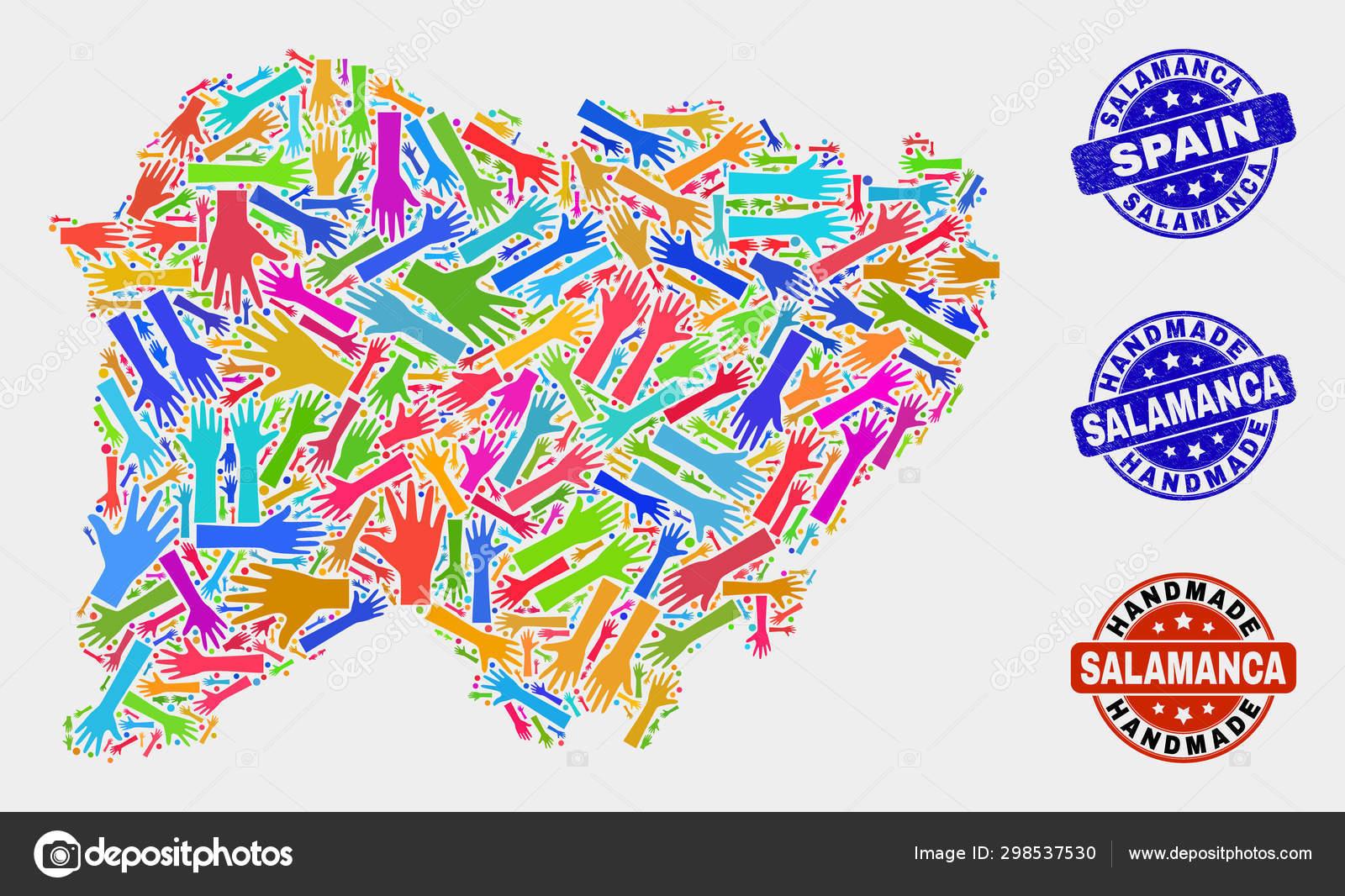 Provincia De Salamanca Mapa.Collage De Manos De La Provincia De Salamanca Mapa Y Grunge
