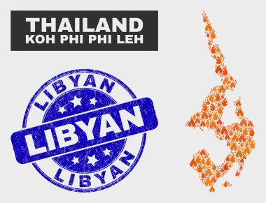 Flame Mosaic Koh Phi Leh Map and Distress Libyan Watermark