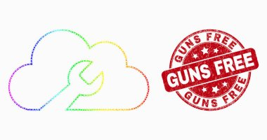 Vector Spectral Pixelated Cloud Wrench Icon and Scratched Guns Free Stamp
