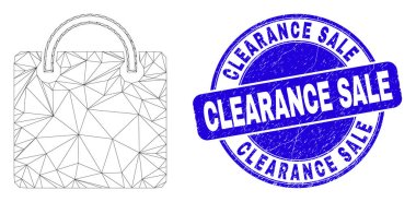 Web mesh shopping bag icon and Clearance Sale watermark. Blue vector rounded scratched watermark with Clearance Sale message. Abstract frame mesh polygonal model created from shopping bag pictogram. icon