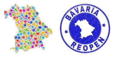 Reopening Bavaria Land Map Collage and Scratched Stamp
