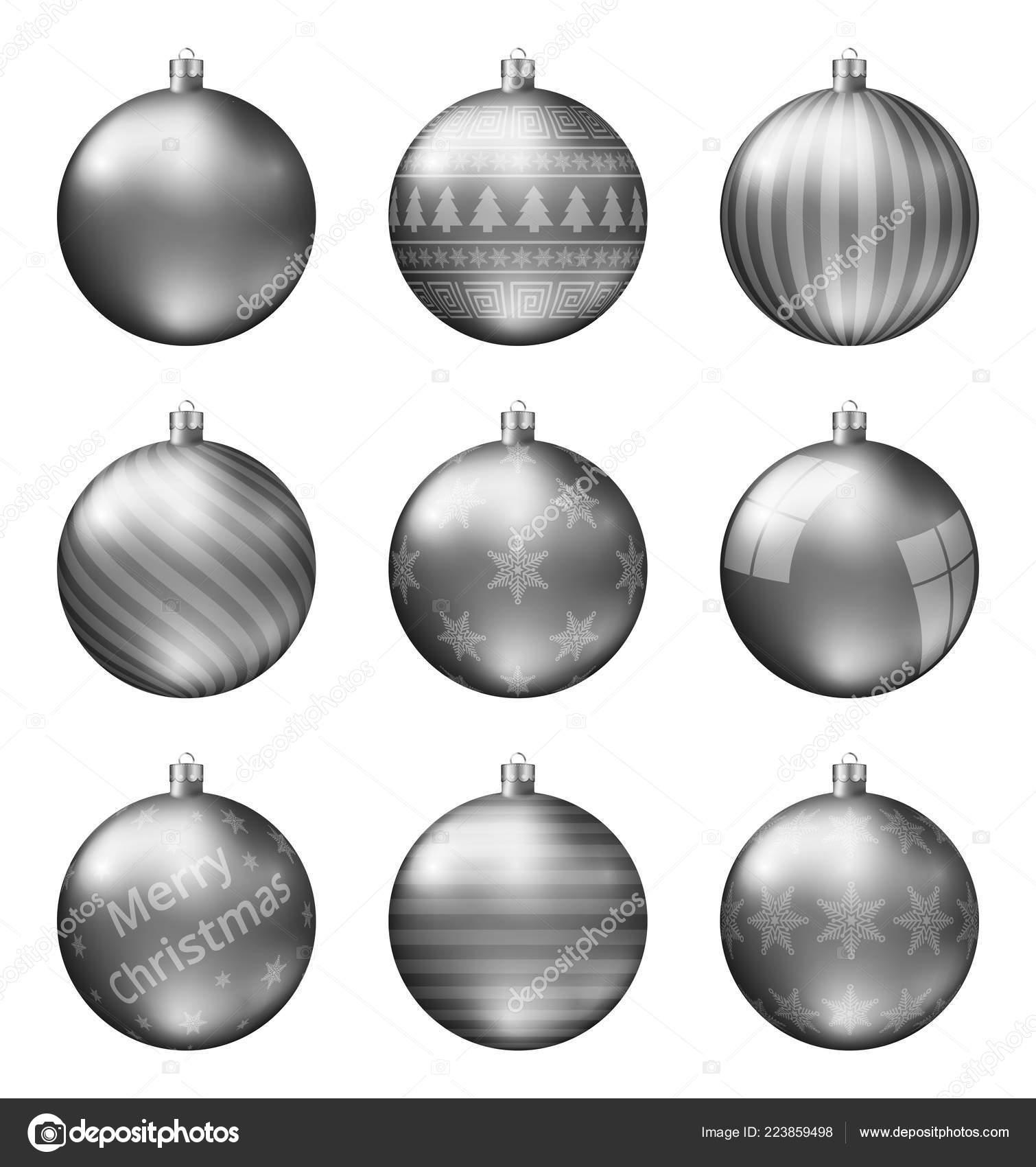 Black Christmas Balls.Pastel Black Christmas Balls Isolated White Background