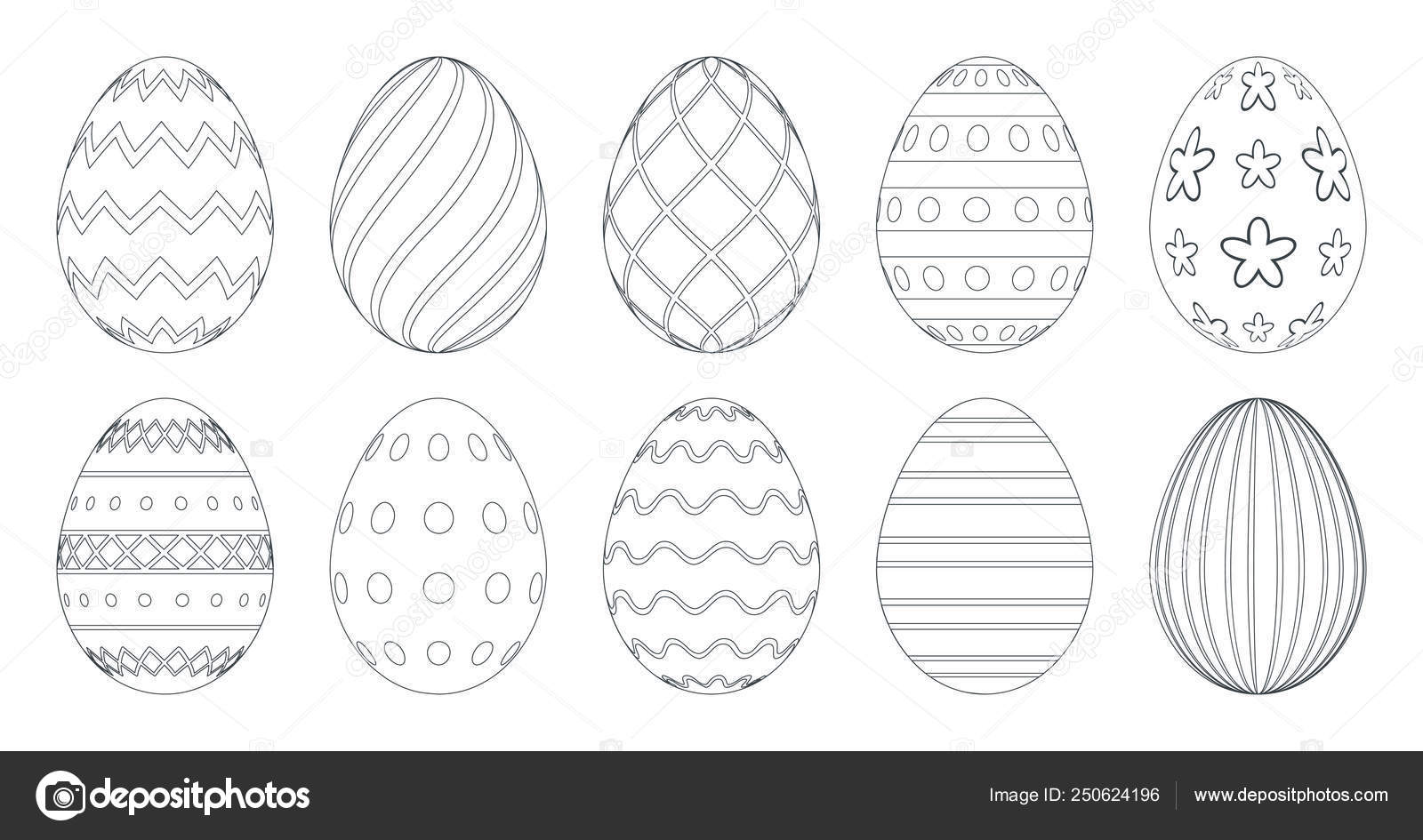 Easter eggs for coloring book. Set of black and white easter eggs isolated  on a white background. 10
