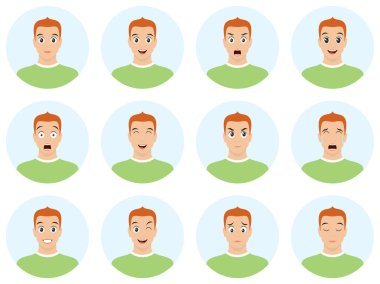 Handsome man with different facial expressions. Portrait of young man in a flat style. Vector avatar illustration with facial emotions.