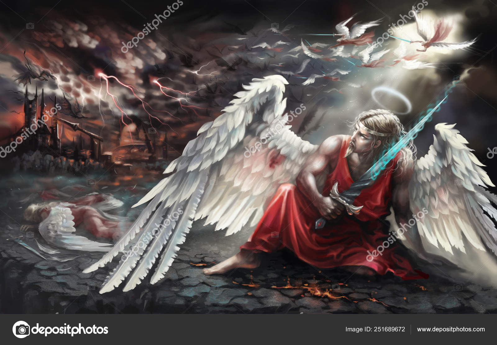 Angel Sword Fell Battle Angels Digital Painting Stock Photo