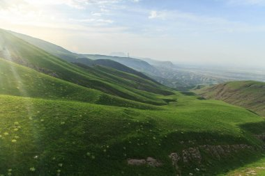 The mountains of the Iran and Turkmenistan on a summer day, gree