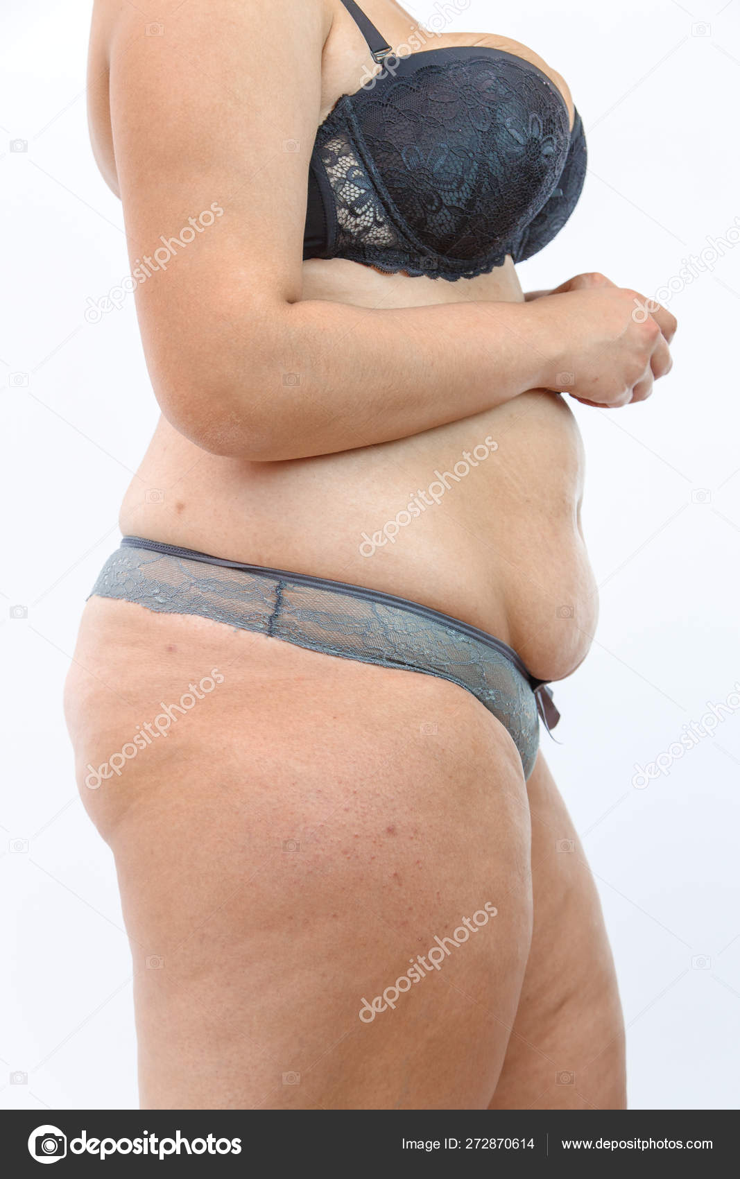 Big Belly And Cellulite Fat Legs Of Overweighted Woman Isolated Stock Photo C Ajphotos 272870614