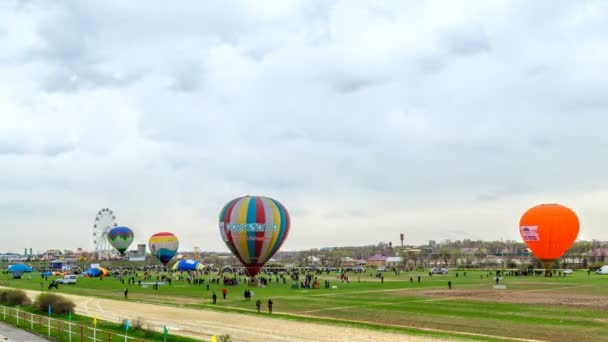 Shymkent, Kazakhstan - March 16, 2018: Festival of balloons in cloudy weather