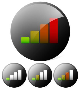 Growing bar chart, bar graph. Can be used as a signal strength i