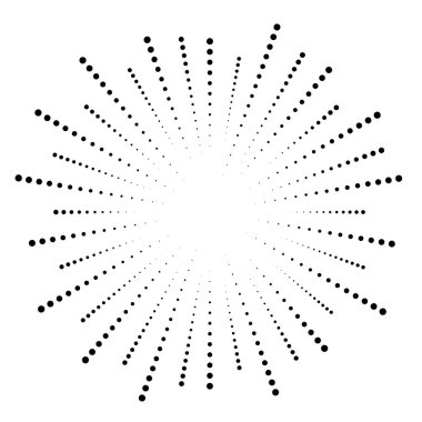 Dotted lines dots radial lines abstract design element