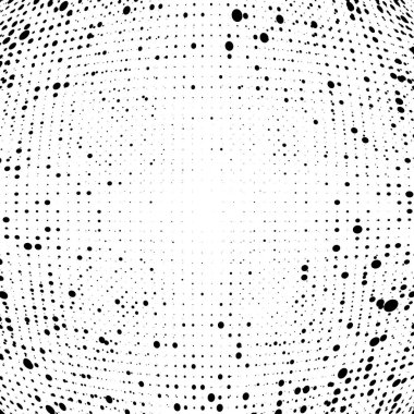 Half-tone dots. Dotted, circles pattern. Sphere, orb or globe di