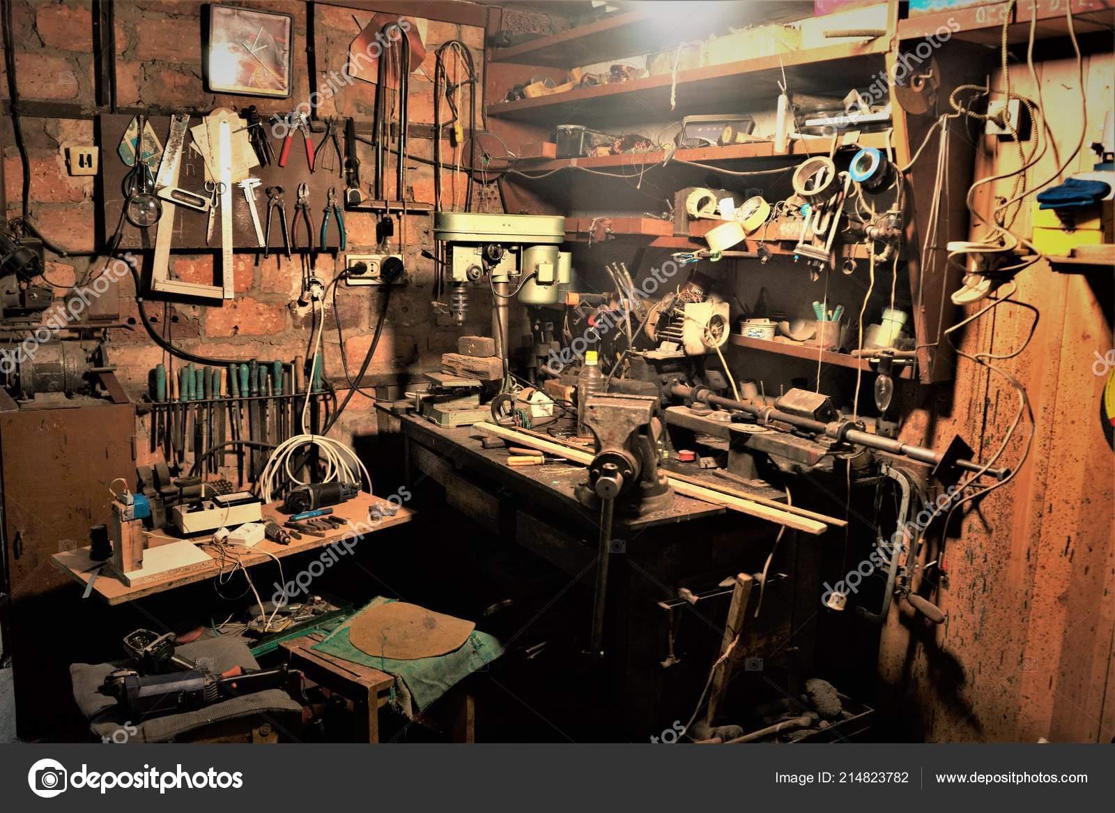 Desktop And Tools In The Garage Workshop Stock Photo C Sonymoon