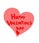 Druck für Design, Grußkarte, Vorlage, Poster mit Handzeichnung roter Schriftzug Happy Valentinstag und rosa Herz