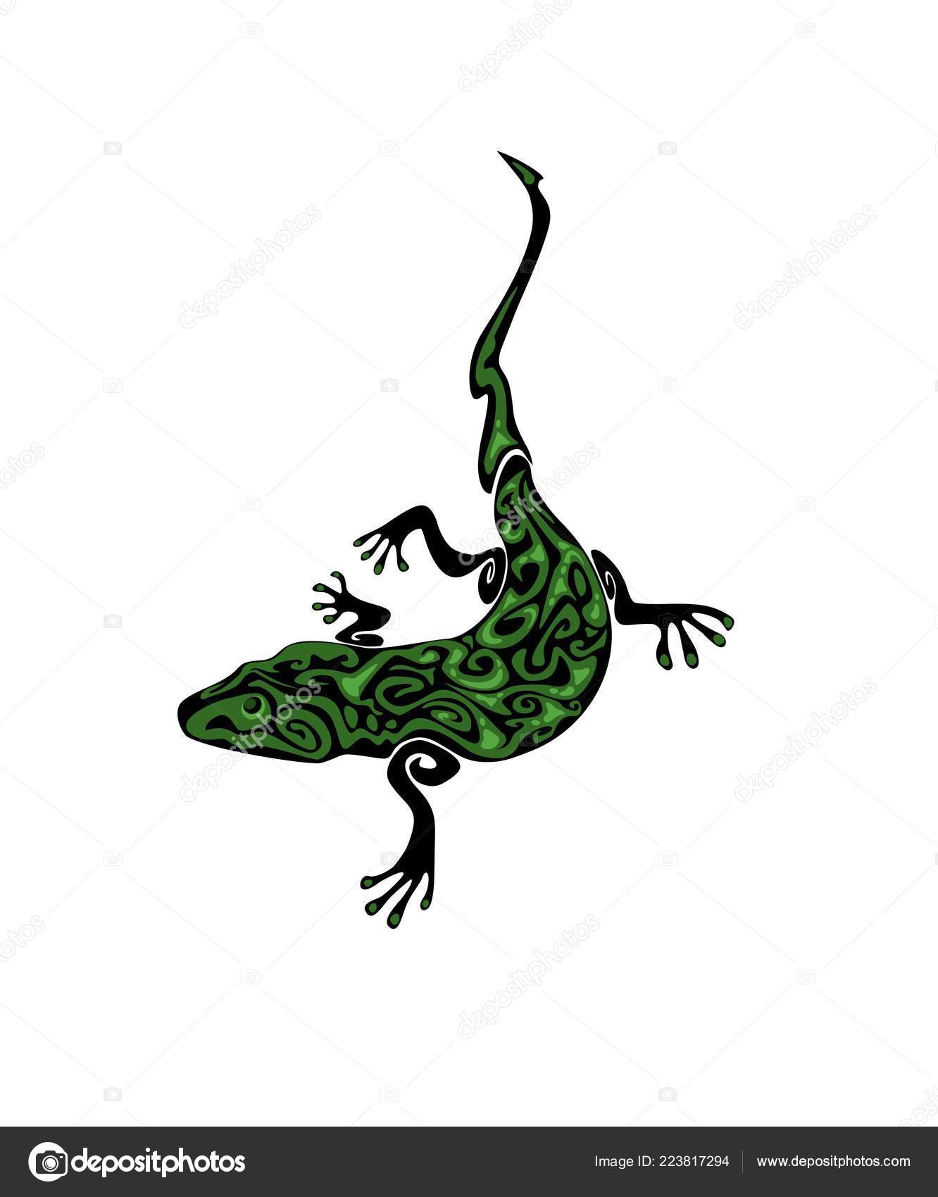 e73dfb3bd Black green vintage gecko tattoo isolated on white background — Vector by  GoldRuno