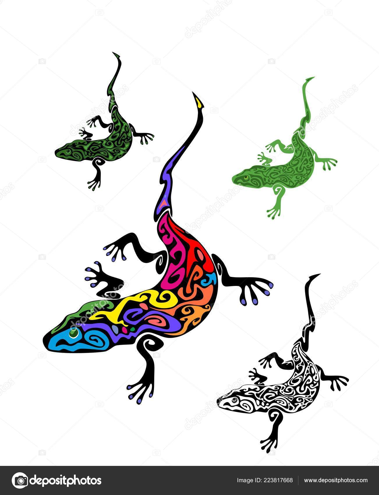 3f7e07fc9 Vintage Gecko Tattoo Collection Ethno Print Isolated White Background —  Stock Vector