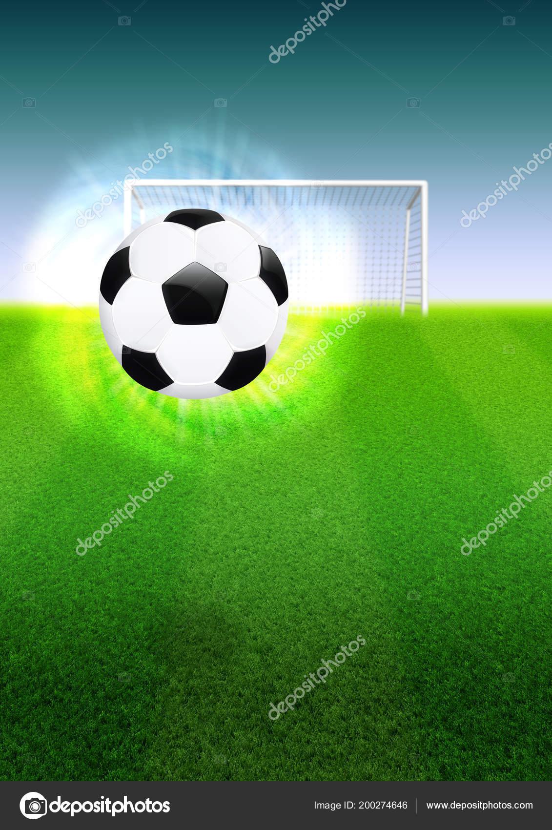 4a95a5a5b Football Soccer Ball Goal Grass Field Illustration — Stock Photo ...