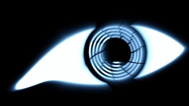 Oko tmavé, stylizované cyber efekt záře.