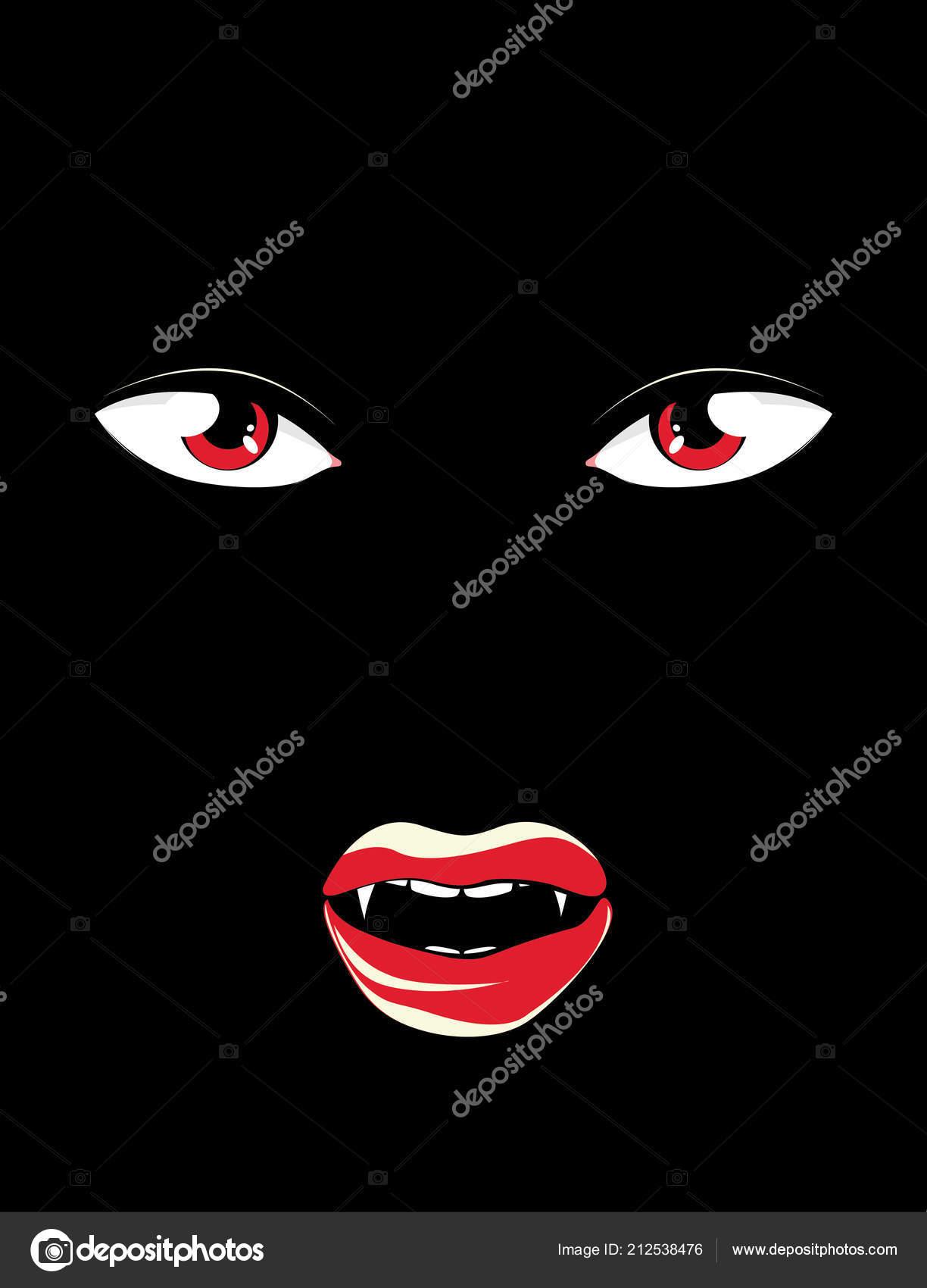 Gruselige Vampir Gesicht Mit Roten Augen Der Dunkelheit Halloween