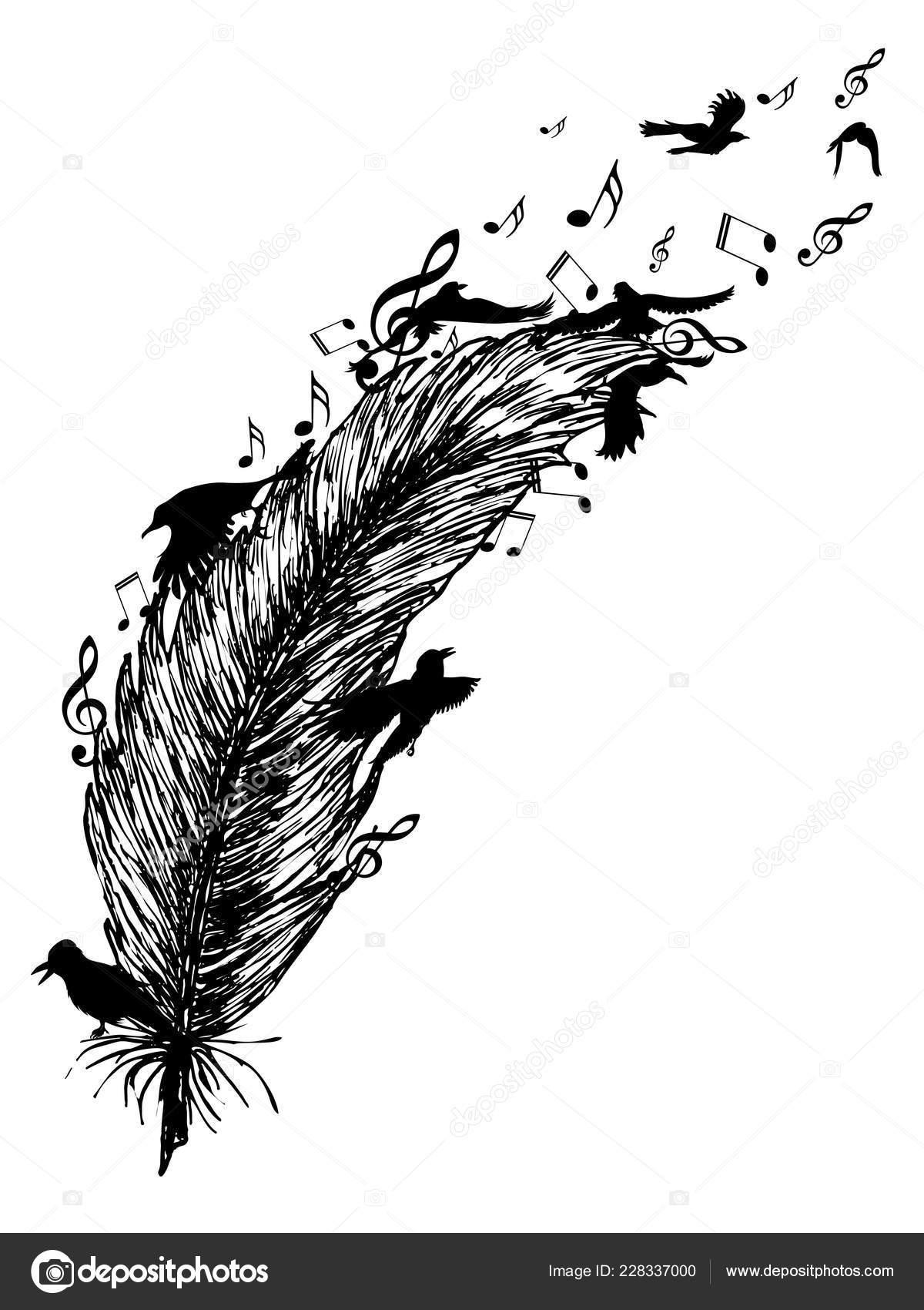 Pássaros Voando Silhueta Notas Pena Música Tatuagem Desenho