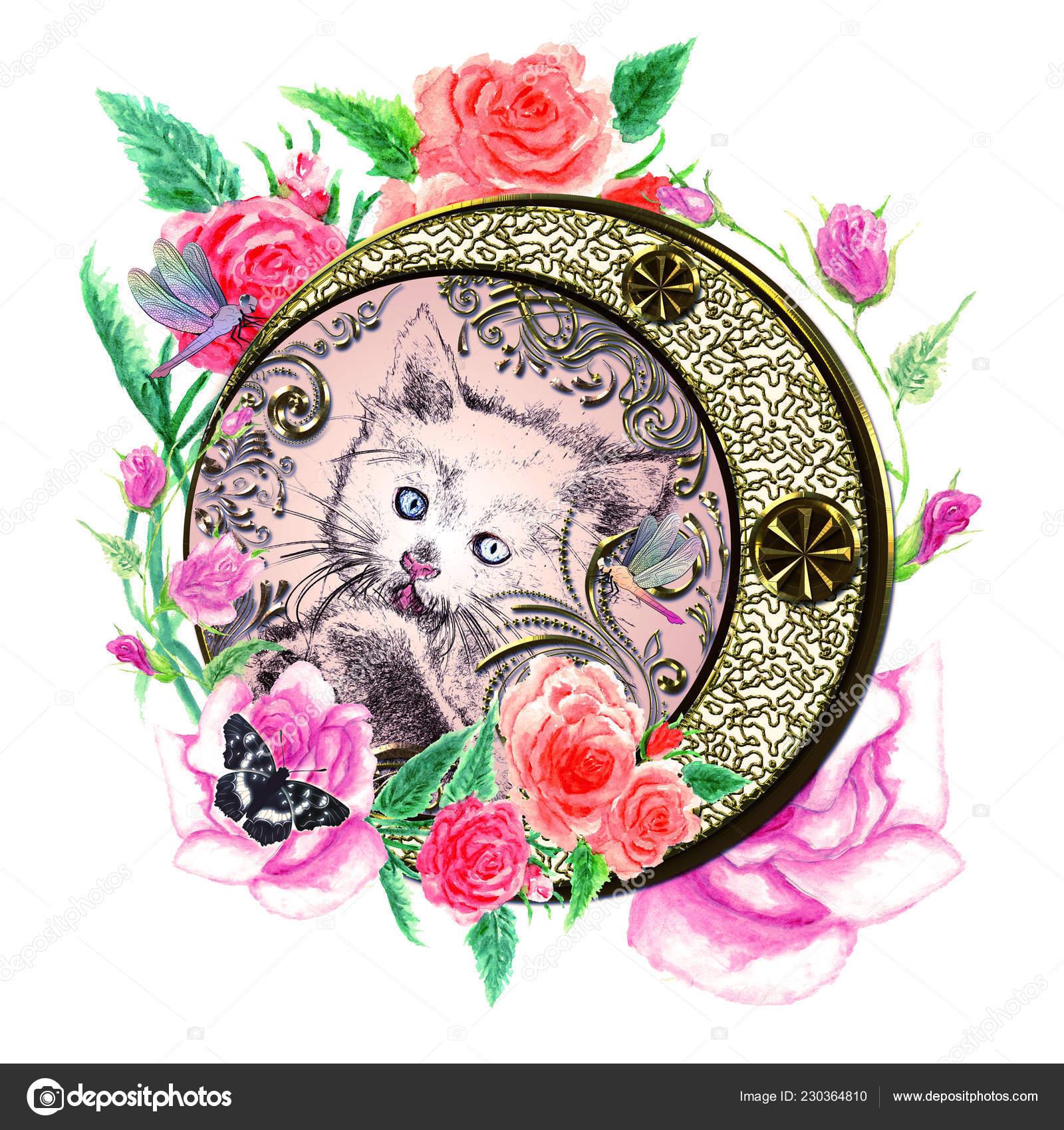 zdobené obrázky kočička