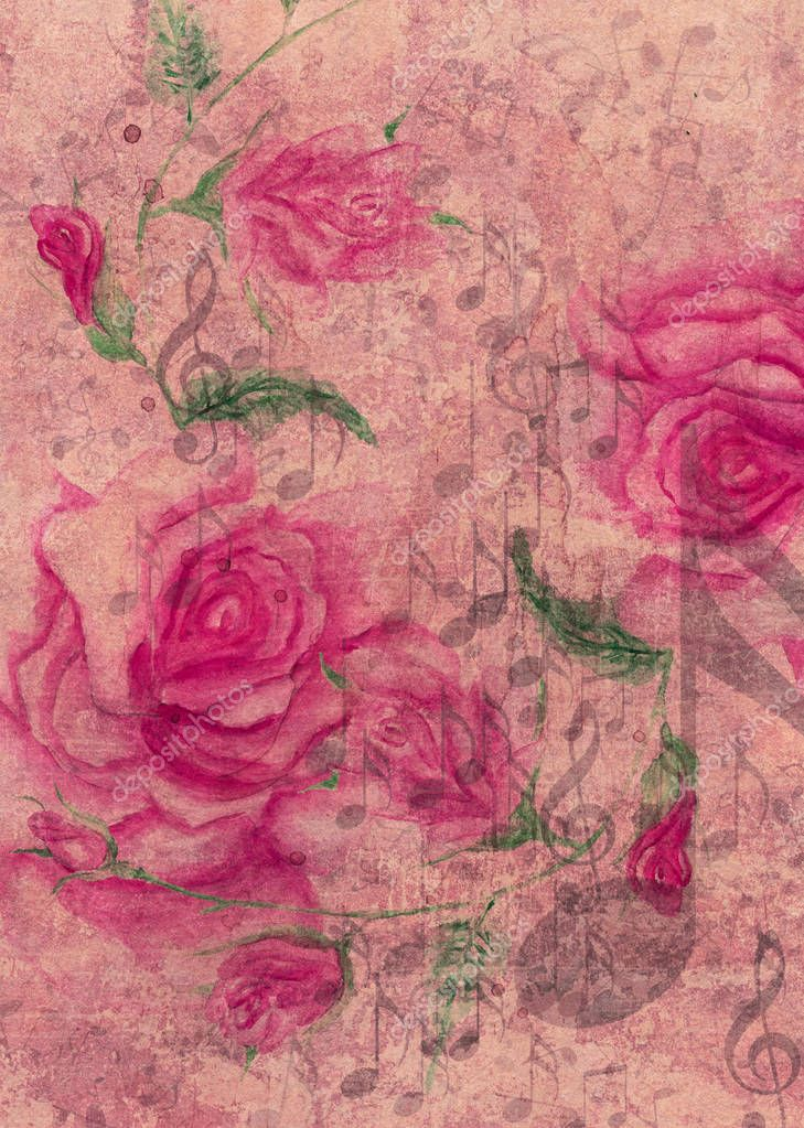Collage with watercolor roses and music notes with grunge yellow paper texture.