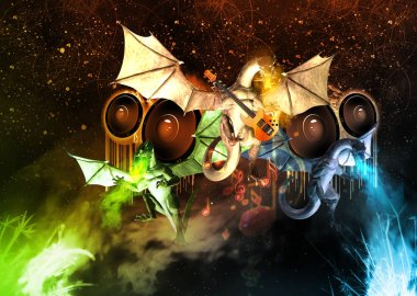 Three dragons with music notes, sound speakers and guitar. 3d illustration