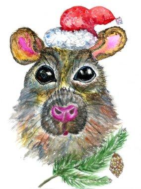Christmas rat art