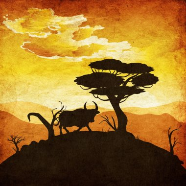 Illustration of landscape and bull silhouette at sunset time with paper texture.