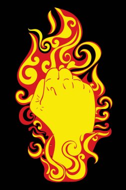 Abstract fist raised up inside of burning flame illustration. icon