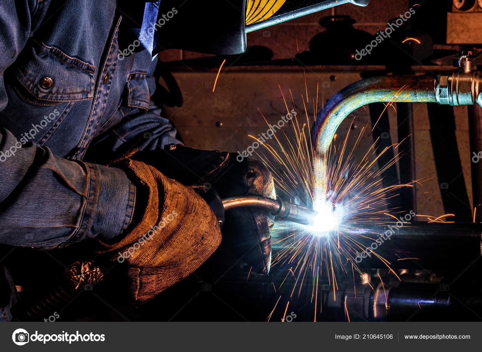 Welder Work Welding Steel Structures Workshop Production