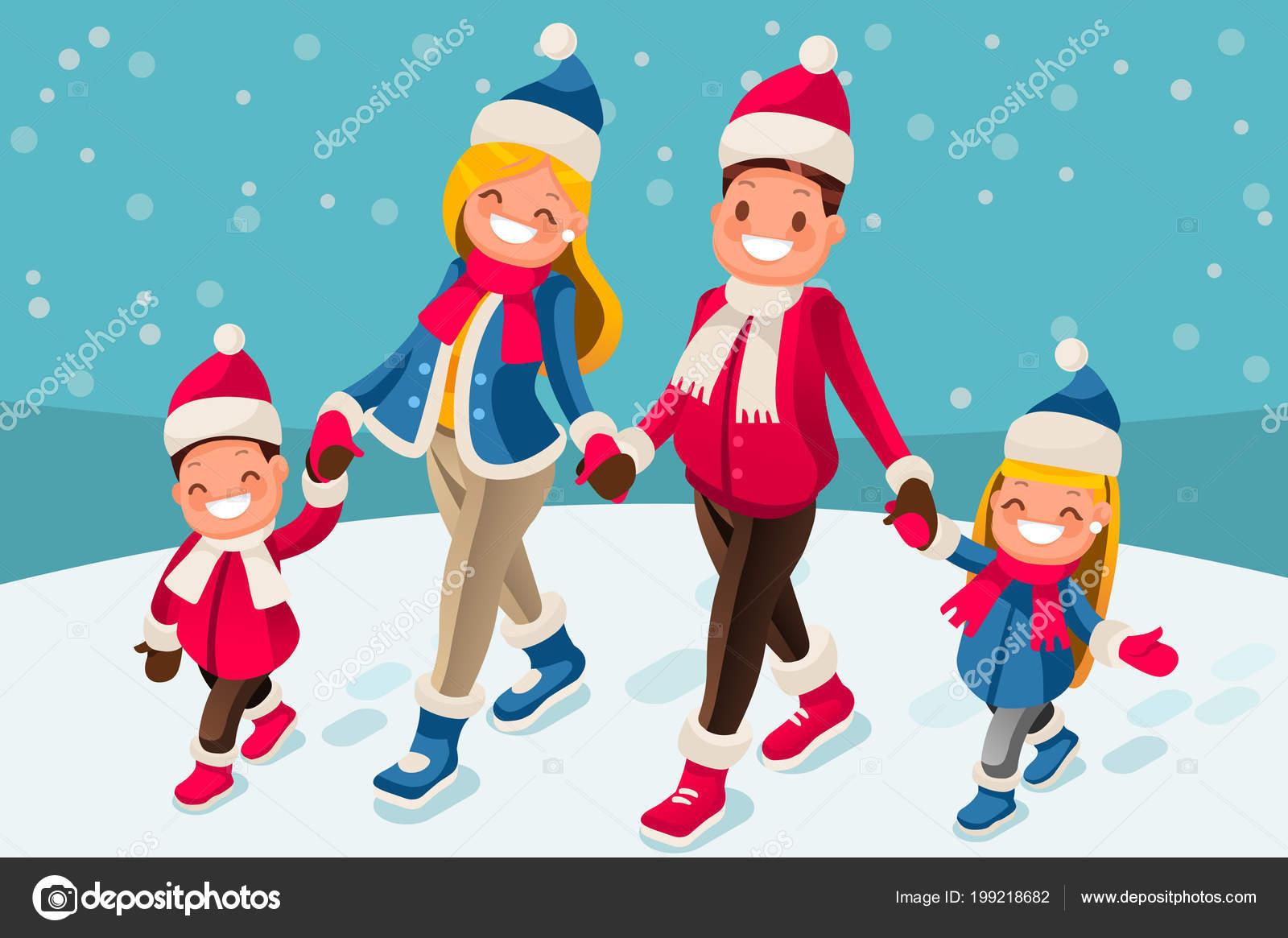 Buon Natale Famiglia.Illustrazione Buon Natale Carta Felice Anno Nuovo Famiglia Del