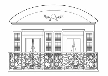 Vector illustration of a ancient balcony with two windows, EPS 10 file